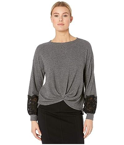 Karen Kane Lace Sleeve Twist-Front Sweater (Dark Heather Grey) Women