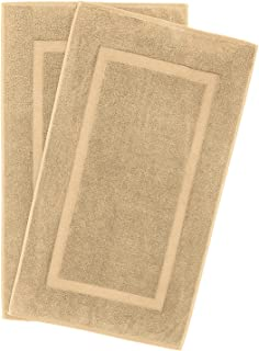 900 GSM Machine Washable 20x34 Inches 2-Pack Banded Bath Mats, Luxury Hotel and Spa Quality, 100% Ring Spun Genuine Cotton, Maximum Softness and Absorbency by United Home Textile, Sand Taupe