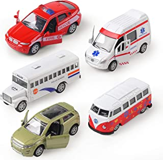 KIDAMI Die-cast Metal Toy Cars Set of 5, Openable Doors, Pull Back Cars Ambulance, Gift Pack for Kids (Official Car ?)