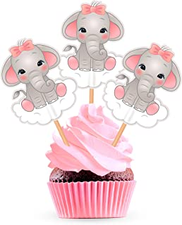 Pink Elephant Cupcake Toppers Cake Picks - Girl Baby Shower Decorations Supplies - 25 pieces