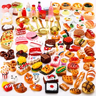Sumind 100 Pieces Miniature Food Drinks Toys Mixed Pretend Foods for Dollhouse Kitchen Play Resin Mini Food for Adults Tee...