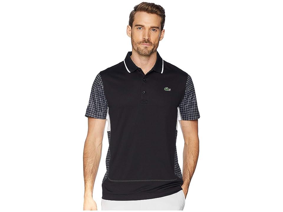 Lacoste Sport Short Sleeve Ultra Dry Net Print Color Block Polo w/ Flatlock Detail (Black/White/White/Graphite) Men