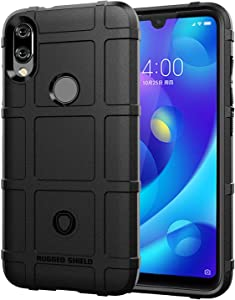 For Xiaomi Play / 7 Pro - Rugged Square Grid Texture TPU Case Cover - Black