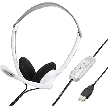 【Amazon.co.jp限定】サンワサプライ USBヘッドセット/ヘッドホン ホワイト MMZ-HSUSB10W