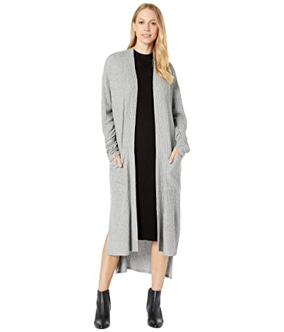 1.STATE Patch Pocket Maxi Waffle Knit Cardigan (Silver Heather) Women