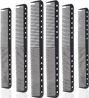Black Carbon Fine Cutting Comb Carbon Fiber Salon Hairdressing Comb Hairdressing Comb Heat Resistant Barber Comb (6 Packs)