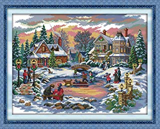 YEESAM ART New Cross Stitch Kits Advanced Patterns for Beginners Kids Adults - Treasure Time 11 CT Stamped 70×54 cm - DIY Needlework Wedding Christmas Gifts