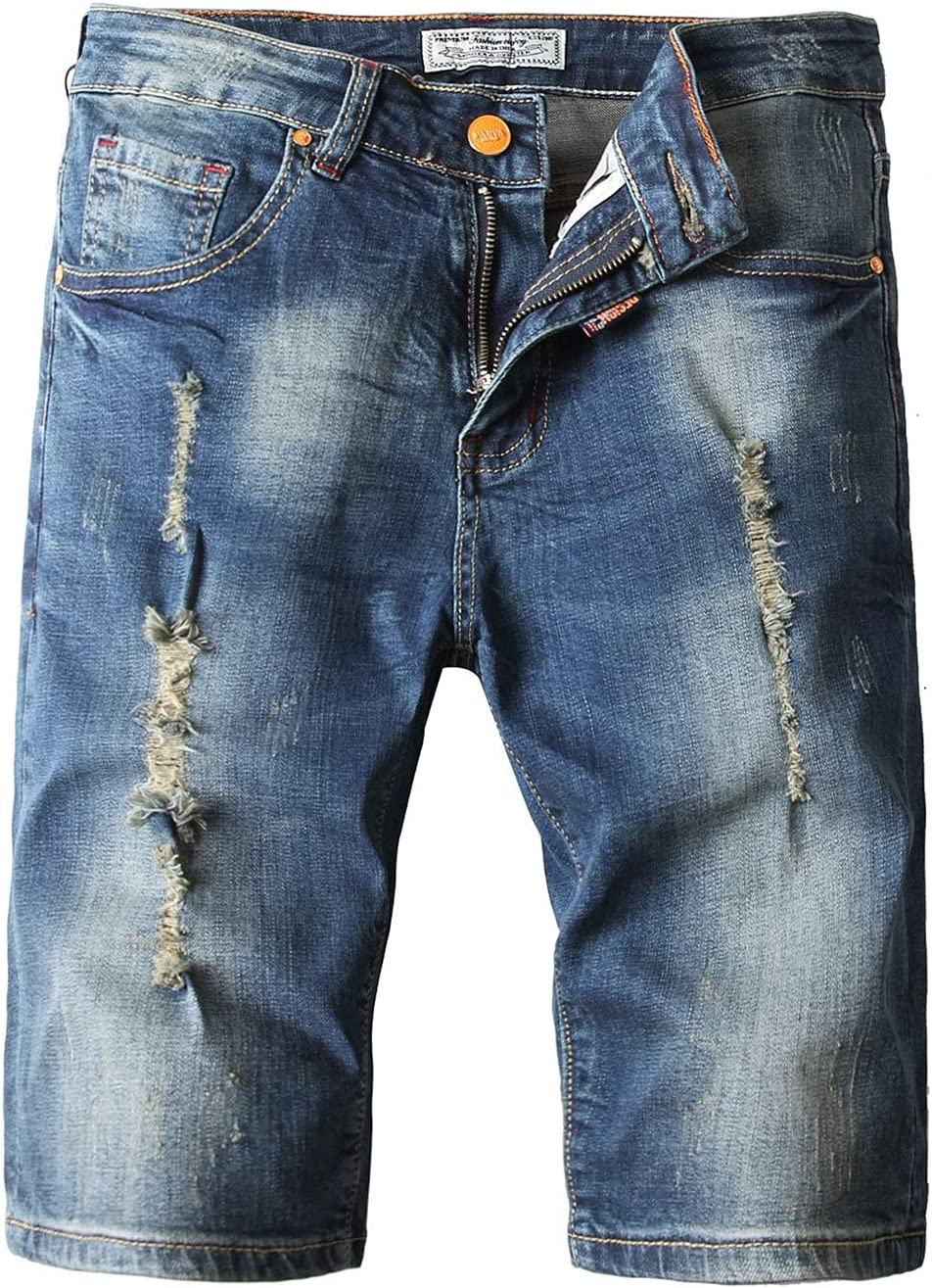 Men's Slim Straight Jean Shorts Casual Summer Above Knee Length Ripped Jeans Destroyed Hole Distressed Jean Short Pants (Light Blue,38)
