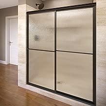 Basco Deluxe Framed Sliding Shower Door, Fits 38-40 inch opening, Rain Glass, Oil Rubbed Bronze Finish