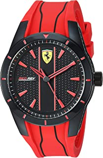 Ferrari Men's 'Redrev' Quartz Plastic and Silicone Watch, Color:red (Model: 0830539)