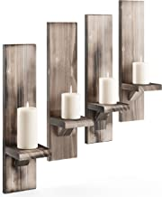 Rustic Candleholders (4) | Wall-mount Wooden Candle Holders | Floating Shelves | Wallmounted Rustic Pillar Candle Sconce |...