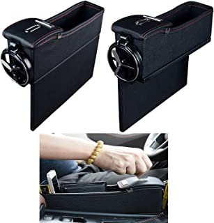 NEW POWER Premium PU Leather Side Pocket Organizer Car Seat Filler Gap Space Storage Box Bottle Cup Holder Coin Collector Car Interior Accessories 2PCS(Black)