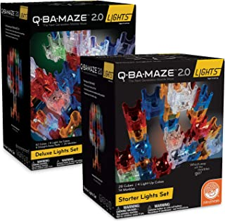 MindWare Q-BA-Maze Marble Run Building Set: Starter and Deluxe Light-Up Sets