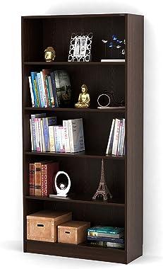 Bluewud Alex Wall Book Shelf/Home Decor Display & Storage Rack Cabinet Unit (Wenge, 5 Shelves)