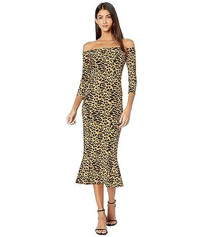 KAMALIKULTURE by Norma Kamali Off-the-Shoulder Fishtail Dress to Midcalf (Golden Leopard) Women
