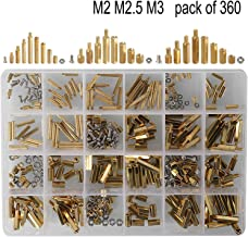 HanTof 360pcs M2 M2.5 M3 Male Female Hex Brass Spacer,Standoff,Screw,Nut Assortment Kit for Motherboard Raspberry Pi