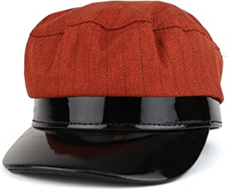 1973ed6936f Trendy Apparel Shop Striped Greek Newsboy Style Fiddler Patent Leather Trim  Hat