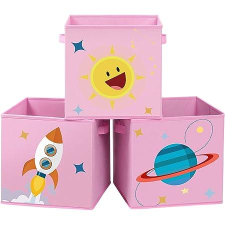 SONGMICS Boîtes de Rangement, Lot de 3, Organisateurs pour Jouets, Cubes Pliables avec poignées, pour Chambre d'enfant, Salle de Jeux, 30 x 30 x 30 cm, thème de l'espace,Rose RFB001P03