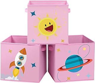 SONGMICS Boîtes de Rangement, Lot de 3, Organisateurs pour Jouets, Cubes Pliables avec poignées, pour Chambre d'enfant, Sa...