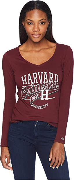 Harvard Crimson University V-Neck Long Sleeve Tee