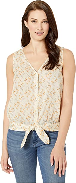 53061a87090da3 1. TWO by Vince Camuto. Sleeveless Heirloom Bouquet Button Down Tie Waist  Blouse