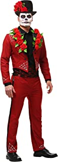 Men's Day of The Dead Costume Faux Suede Day of The Dead Suit