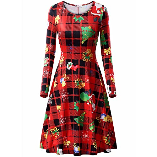 6a7c830d6b KIRA Womens Ugly Christmas Xmas Dress Long Sleeve Casual Aline Party Dress