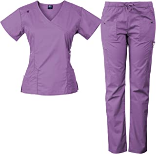 14-Pocket Women's Stretch Medical Scrubs Set with Silver Snap Buttons