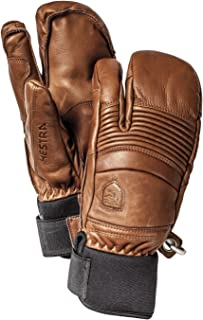 Mens Ski Gloves: Fall Line Winter Cold Weather Leather 3-Finger Mittens