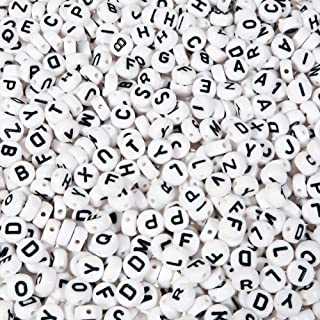 TOAOB 800Pcs 7Mm Round Acrylic Letter Beads For Diy 4 * 7mm White