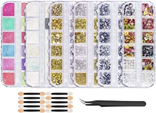 Proteove Nail Art Rhinestones Powder Kits- 4 Boxes Nail Rhinestones Gold Sliver Colorful 3D Nail Studs Rivets, 2 Boxes Nail Powder Pearl Chrome Pigment Manicuring Glitter, W/Tweezers/Sponges, Easy Use