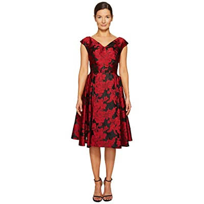 Zac Posen Transparent Jacquard V-Neck Short Sleeve Dress (Crimson) Women