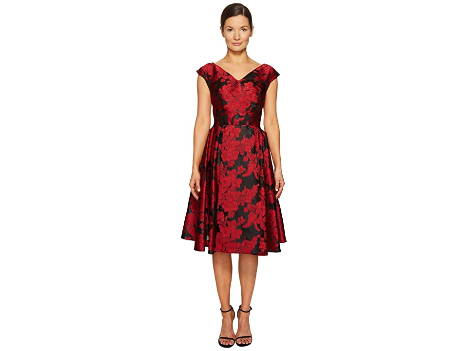 Zac Posen Transparent Jacquard V-Neck Short Sleeve Dress (Crimson) Women