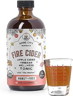 Fire Cider, Tonic, 8 oz with shot glass, Honey-Free flavor, 16 Daily Shots, Apple Cider Vinegar, Vegan, Whole, Raw, Organi...