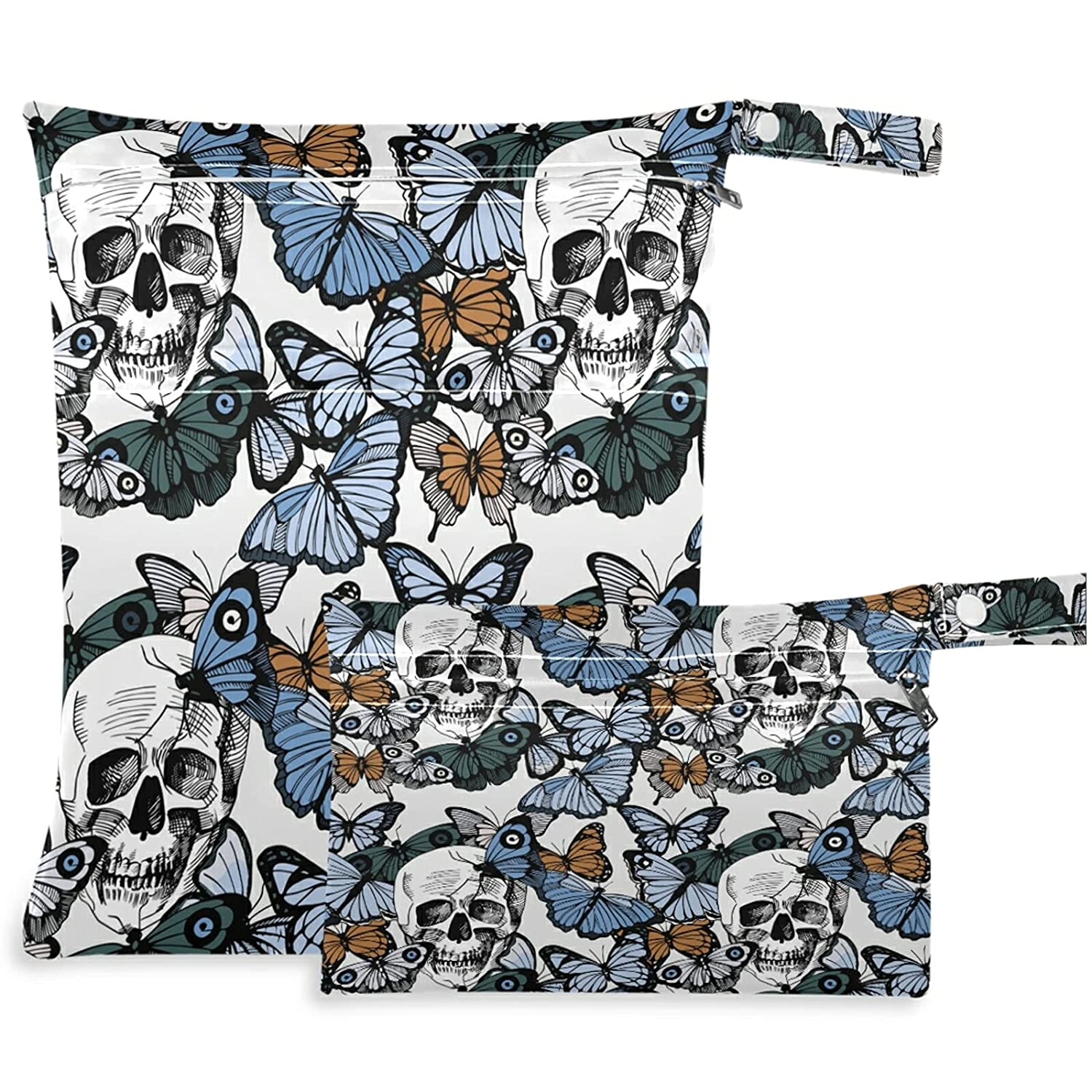 visesunny Retro Dead Skull Butterfly Max 67% OFF Wet Bag with Zippered Ranking TOP4 2Pcs