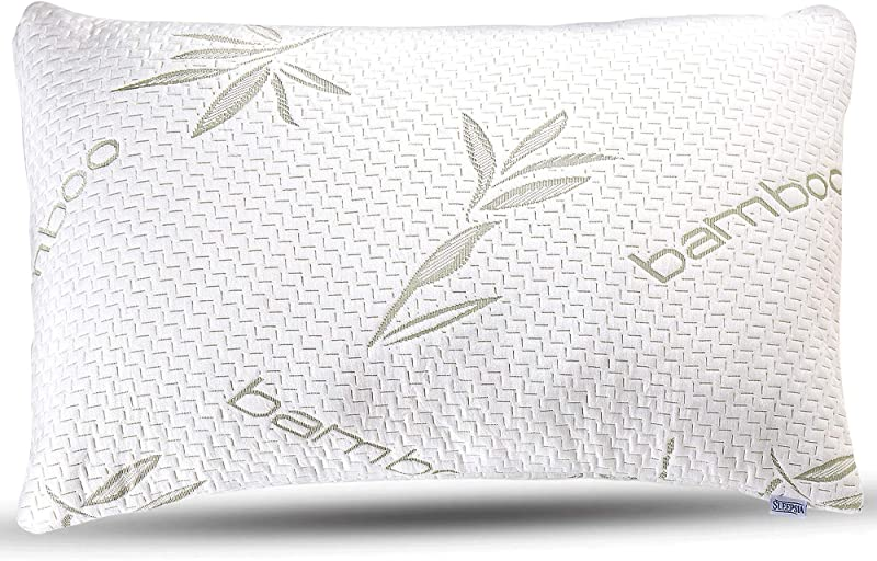 Sleepsia Bamboo Pillow Premium Pillows For Sleeping Memory Foam Pillow With Washable Pillow Case Adjustable Queen