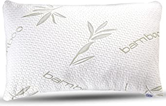 Bamboo Pillow - Premium Pillows for Sleeping - Memory Foam Pillow with Washable Pillow Case - Adjustable (Queen)