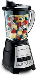 Hamilton Beach 58148A Blender to Puree - Crush Ice - and Make Shakes and Smoothies - 40 Oz Glass Jar - 12 Functions - Black and Stainless