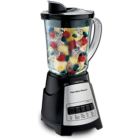Hamilton Beach 58184A Blender to Puree, Crush Ice, and Make Shakes and Smoothies, 40 Oz Glass Jar, 12 Functions, Black and Stainless