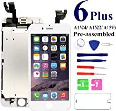 for iPhone 6 Plus (White) Screen Replacement,Nroech 5.5'' LCD Display Touch Screen Digitizer Full Assembly with Front Camera-Ear Speaker-Free Repair Tools, for A1522, A1524, A1593