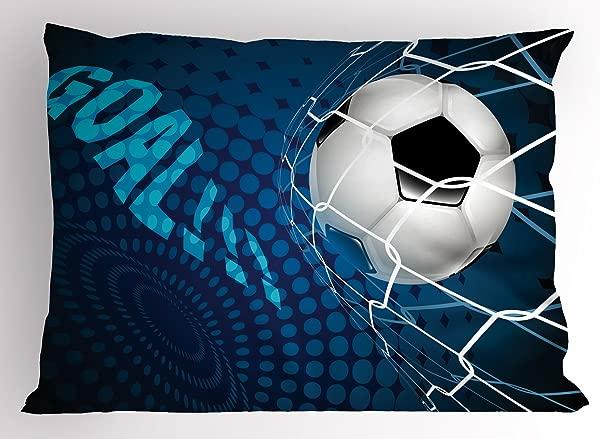 Ambesonne 足球枕头假目标足球飞入网抽象圆点图案背景欧洲运动装饰标准大号印花枕套 30X20 蓝色黑色