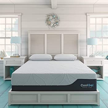 Classic Brands Cool Gel 2.0 Ultimate Gel Memory Foam 14-Inch Mattress with 2 BONUS Pillow , Queen, White