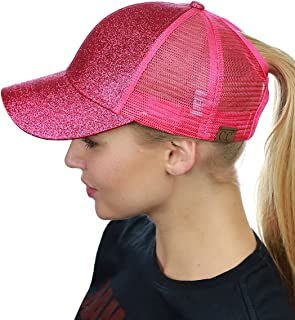 Ponycap Messy High Bun Ponytail Adjustable Glitter Mesh Trucker Baseball Cap