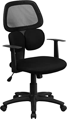 Flash Furniture Mid-Back Black Mesh Swivel Task Office Chair with Flexible Dual Lumbar Support and Arms