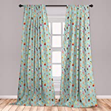 Ambesonne Ice Cream Window Curtains, Mix of Yummy Dessert with Chocolate and Fruit Flavor Toppings Cones Illustration, Lightweight Decorative Panels Set of 2 with Rod Pocket, 56