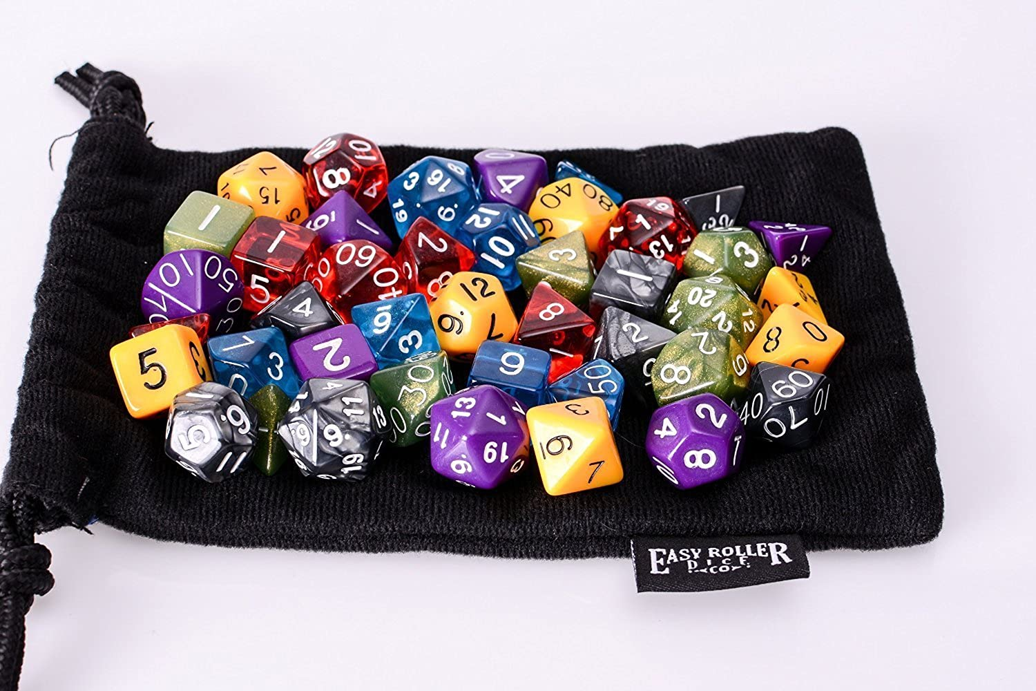 Easy Roller Dice 42 Polyhedral Dice with Large Velvet Dice Bag Set of 6