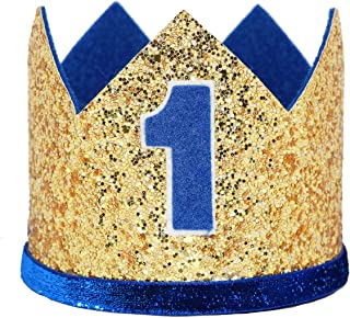 Maticr Glitter Baby Boy First Birthday Crown Number 1 Headband Little Prince Princess Cake Smash Photo Prop