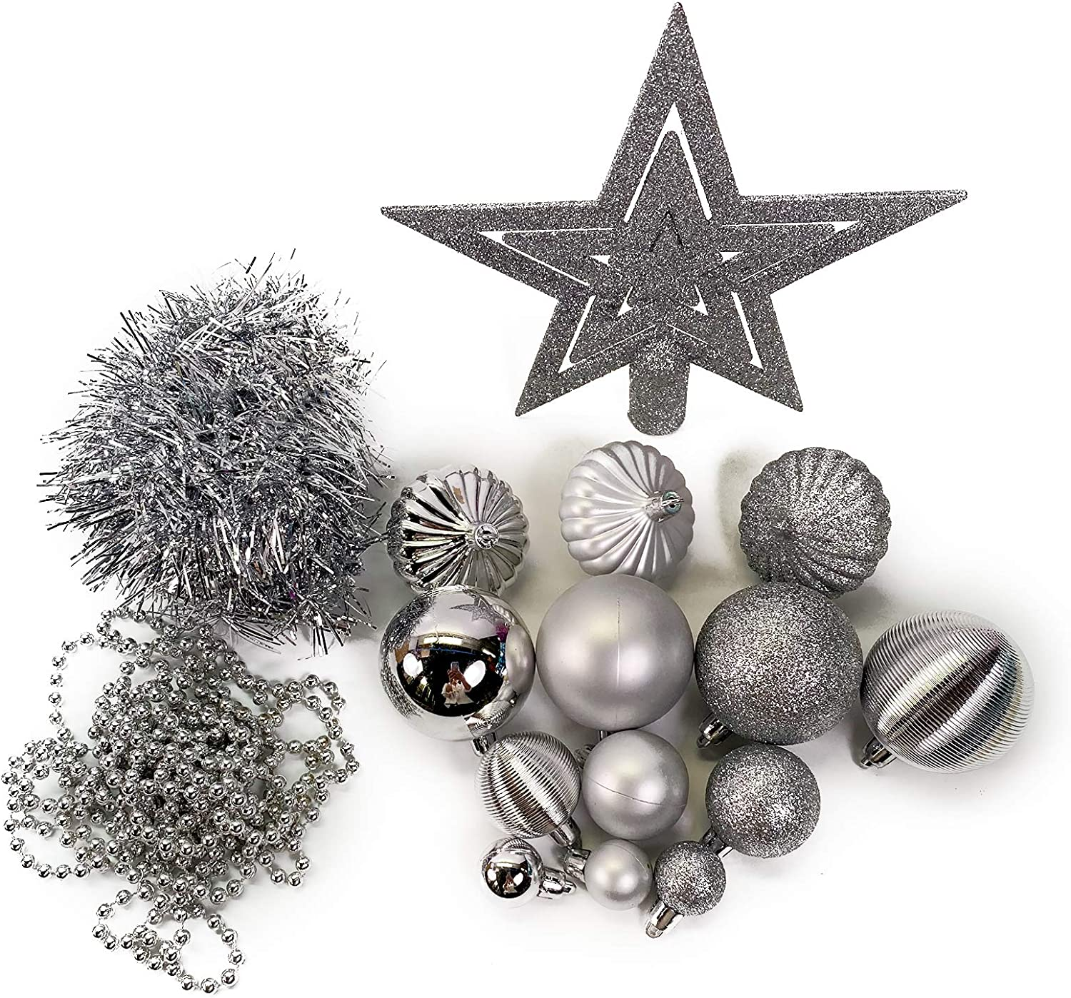 No One/&U 2020 New Christmas Ball Ornaments,Shatterproof Christmas Tree Decorations Hanging Ball for Holiday Wedding Party-2.36inchx24 Pack