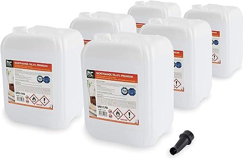 Höfer Chemie 6 x 10 l (60 litres) Bioéthanol 96,6 % Premium - QUALITÉ certifiée par TÜV SÜD - pour cheminée à éthanol...