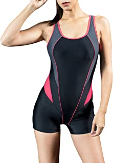 Uhnice Womens Athletic Boyleg One Piece Swimsuit Racing Training Sports Swimwear